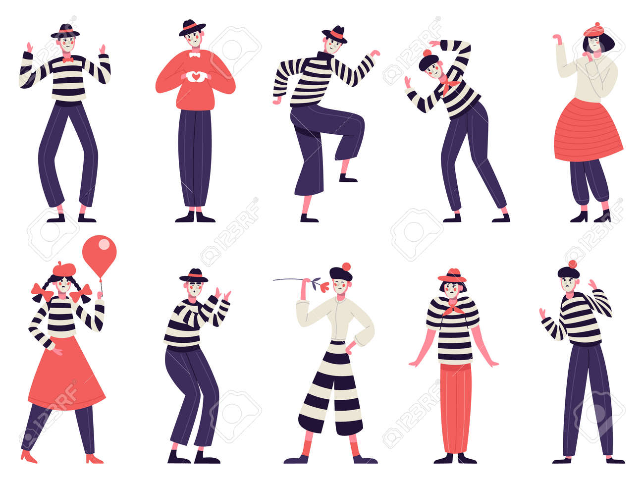 Mimes characters. Silent actors, pantomime and comedy performing, funny mimic poses. Male and female mimes characters vector illustration set - 165882050