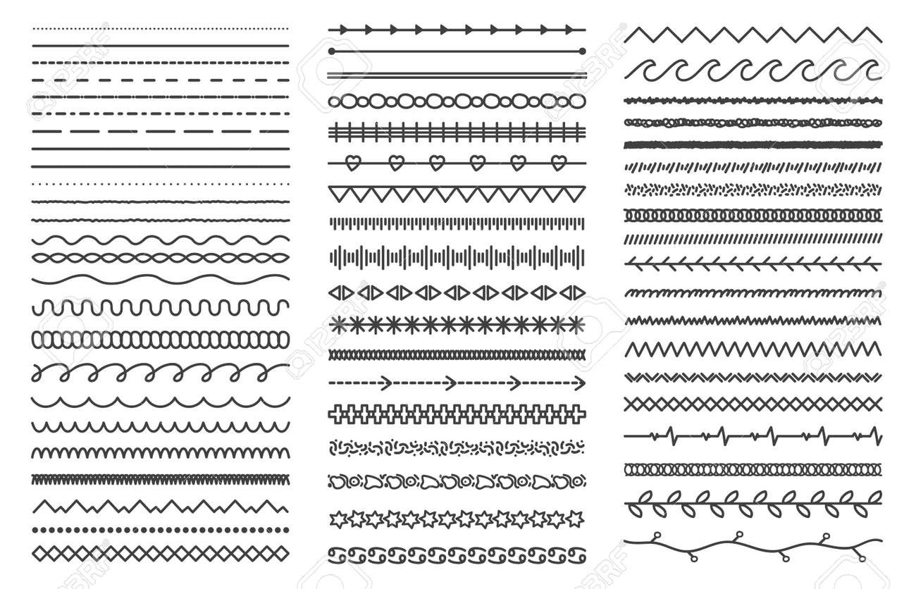 Hand drawn doodle dividers. Abstract doodle lines, decorative pencil strokes. Outline sketched dividers vector illustration set - 166058491
