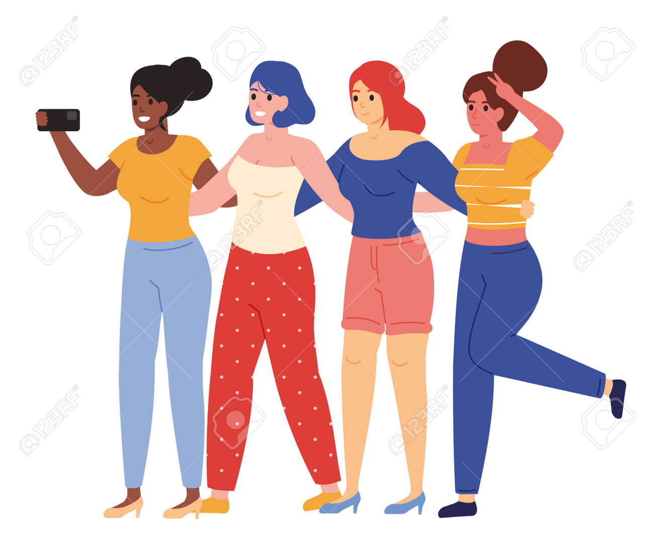 Female friends taking selfie. Happy young girlfriends posing for group selfie vector illustration. Female friendship concept - 168761873