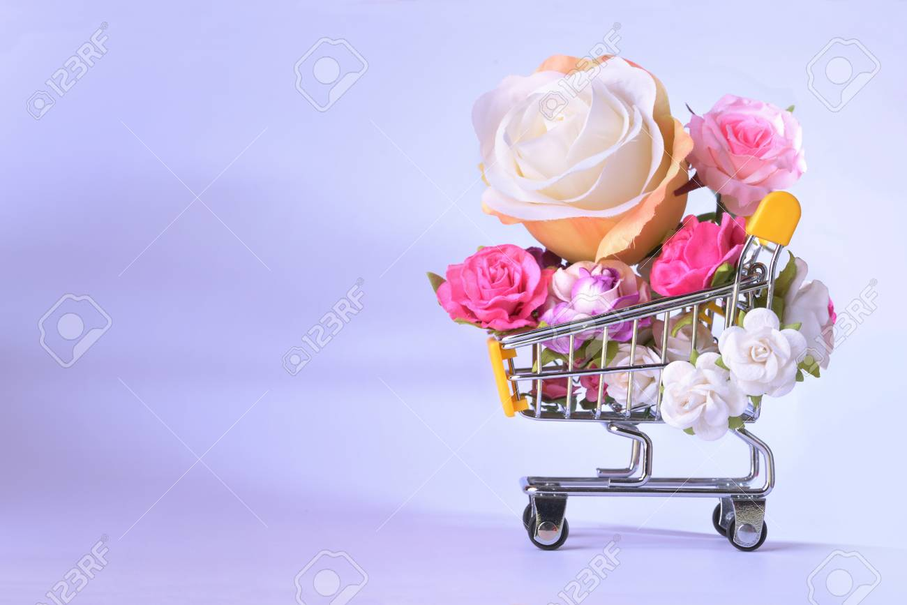 Love And Happy Valentines Day Roses Colorful In Shopping Cart Stock