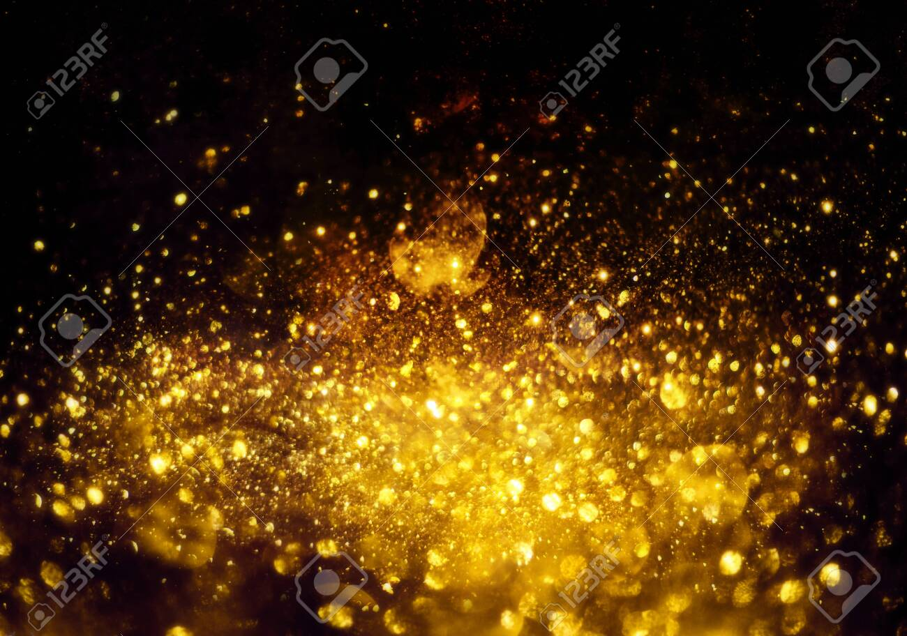 golden glitter bokeh lighting texture Blurred abstract background for birthday, anniversary, wedding, new year eve or Christmas. - 134611660