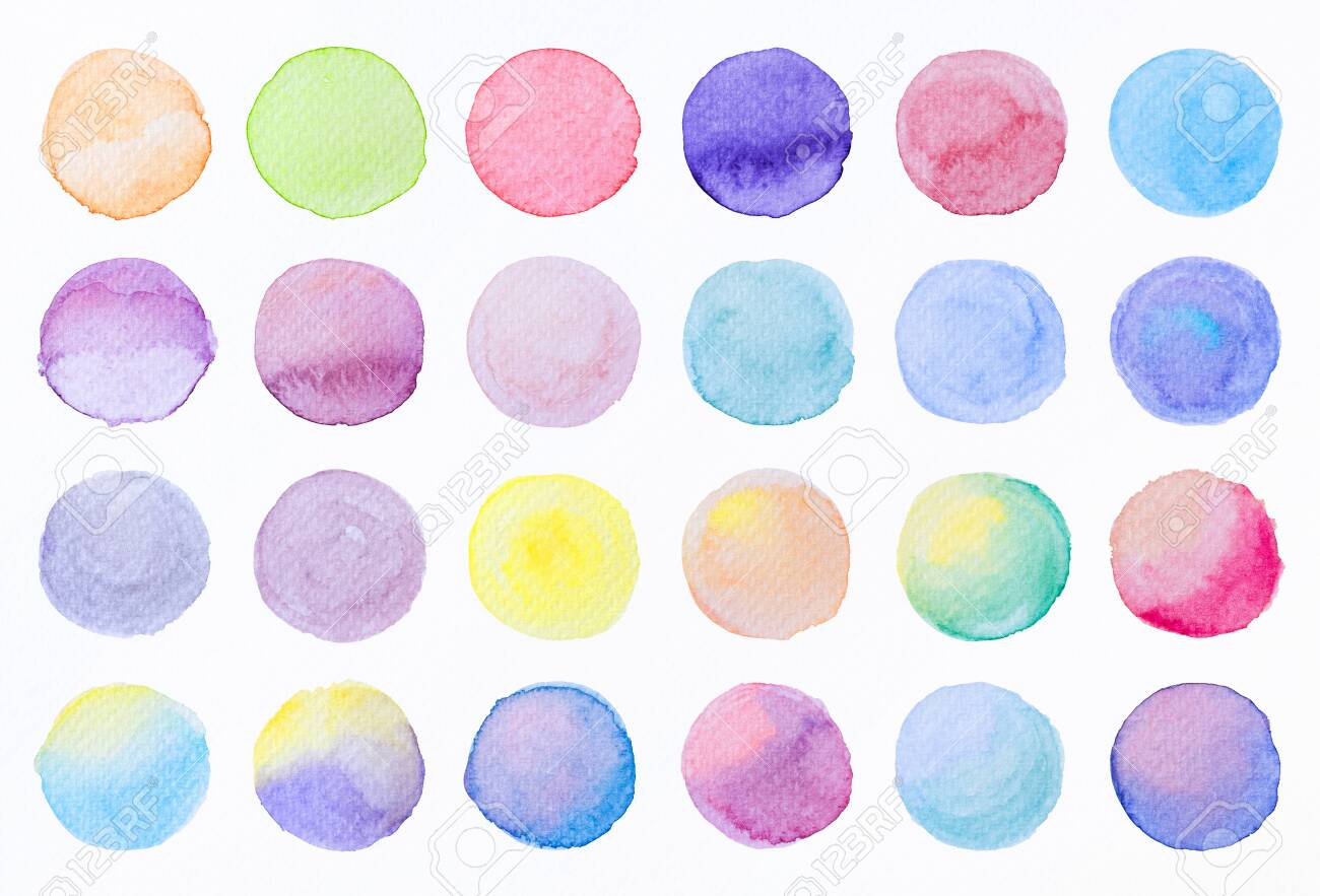 Collection label tag elements Set Watercolor brush paint strokes circle shape from a hand drawn on the white background. - 155199153