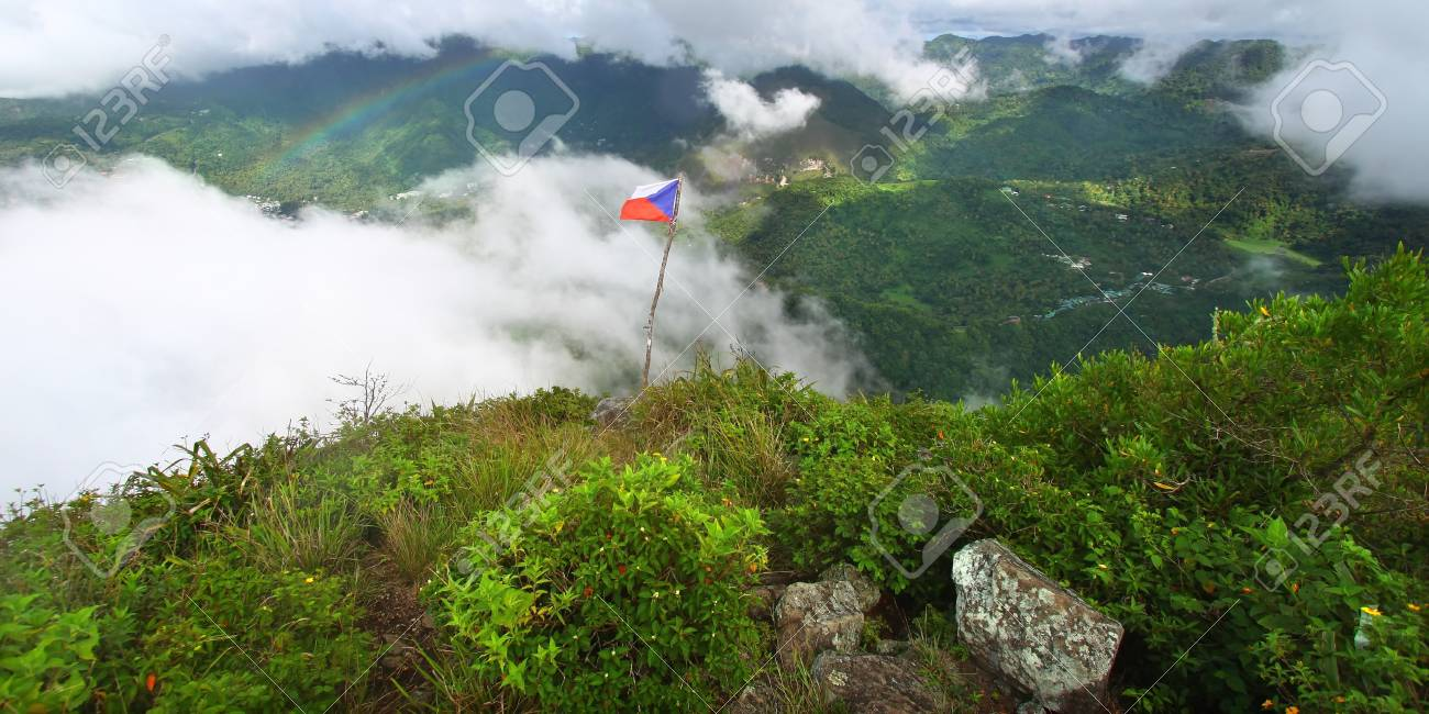 Soufriere from the cloud covered summit of the Petit Piton - St Lucia Stock Photo - 8466547