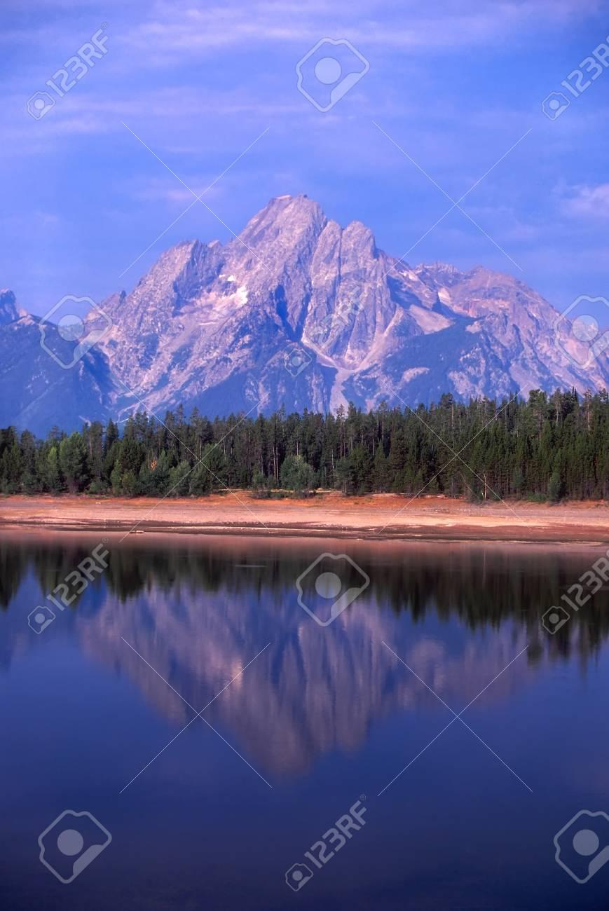 View of the Grand Teton over Jackson Lake in northwest Wyoming Stock Photo - 8495946