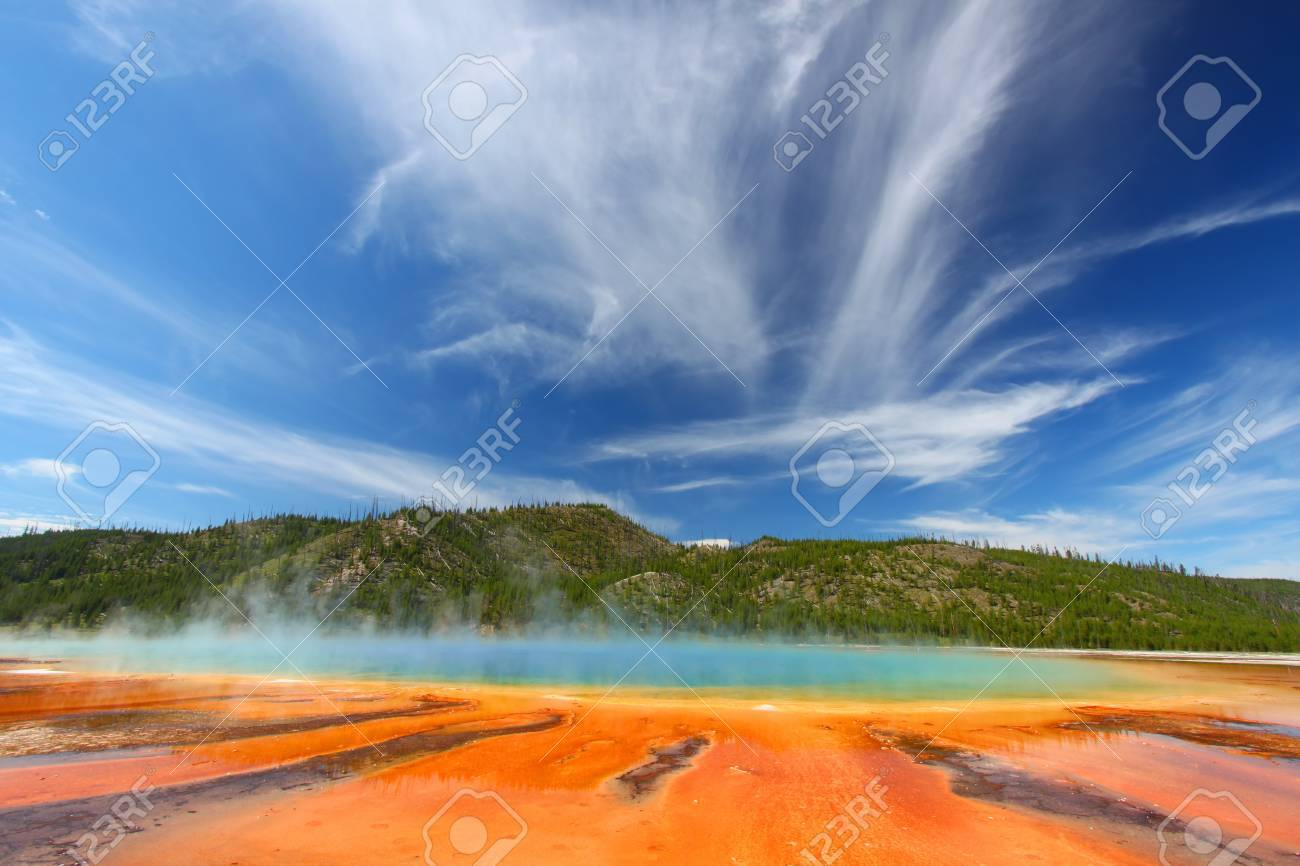 Vivid colors of Grand Prismatic Spring in Yellowstone National Park - USA Stock Photo - 10346931