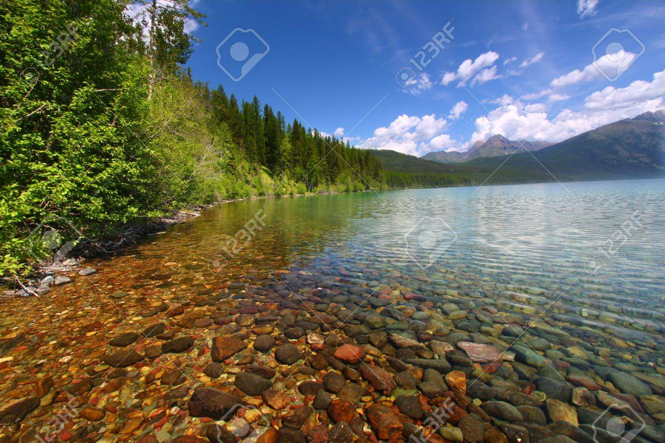 Kintla Lake seen on a beautiful summer day in Glacier National Park - USA Stock Photo - 11568210