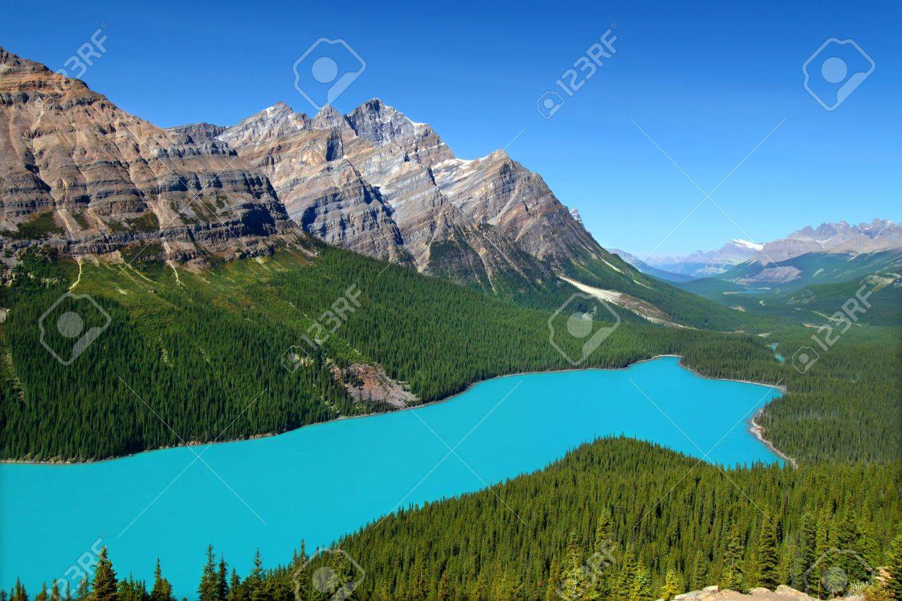 Magnificent blue waters of Peyto Lake of Banff National Park in Canada Stock Photo - 11788757
