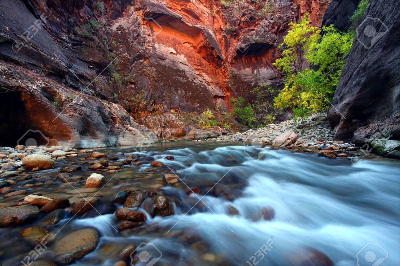 Virgin River cascades in the The Narrows of Zion Canyon - southwest Utah Stock Photo - 11869173