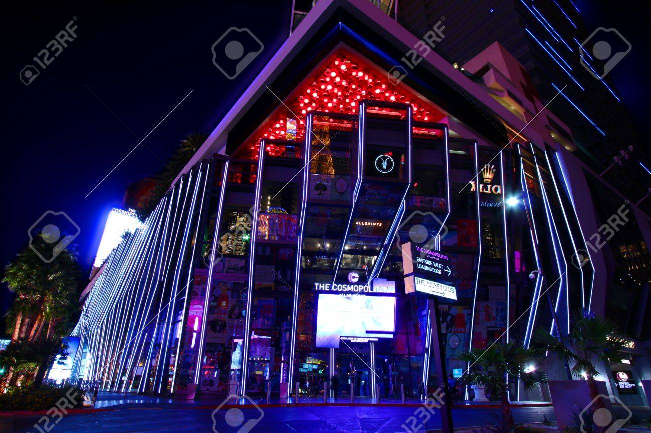 Las Vegas, USA - November 30, 2011: The Cosmopolitan of Las Vegas is a casino and hotel that opened in 2010 on the famous Las Vegas Strip.  Pictured here is the entrance on the corner of Las Vegas Boulevard. Stock Photo - 12817729