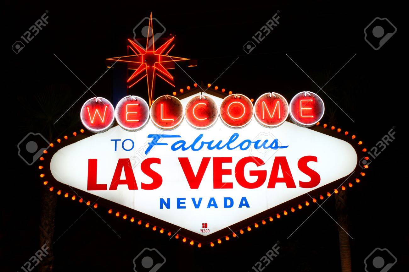The famous Welcome to Fabulous Las Vegas Sign at the South End of the Strip Stock Photo - 13404928