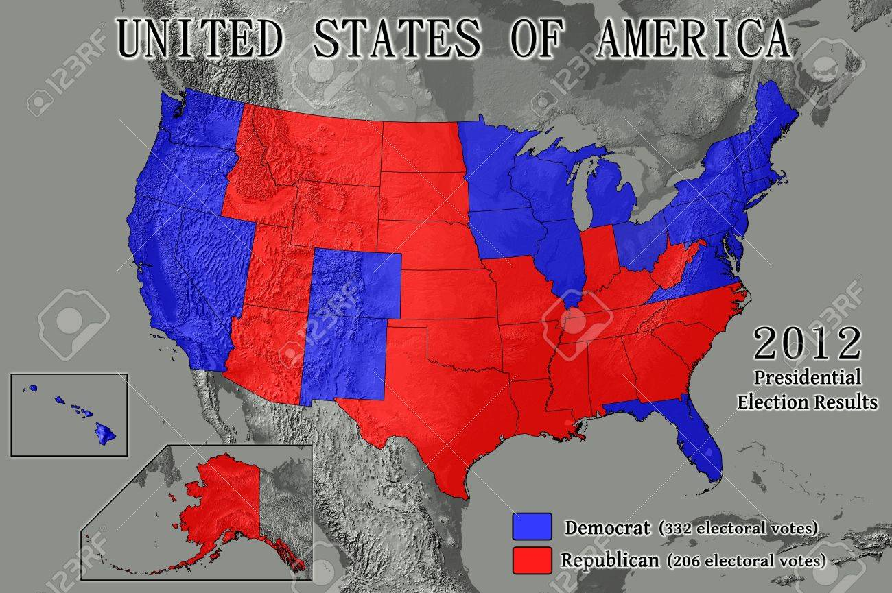 2012 Presidential Election Results By State Map.United States Of America Map Showing Electoral College Results