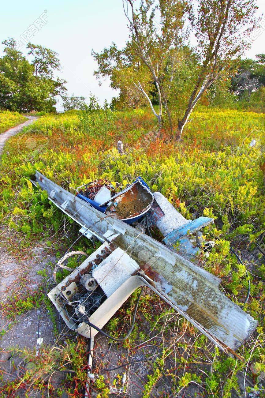 Wrecked boat in the coastal prairie of Everglades National Park Stock Photo - 16587780