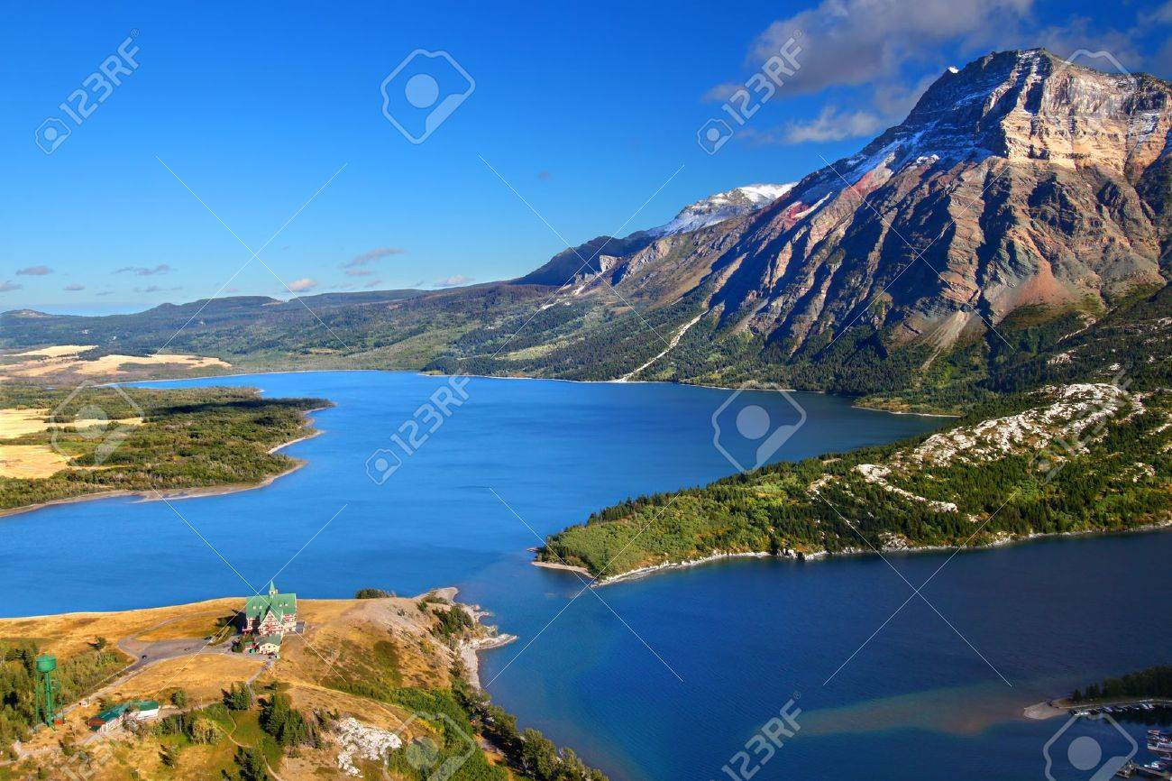 Watertown Lakes National Park in Canada seen from the Bears Hump Stock Photo - 16733696
