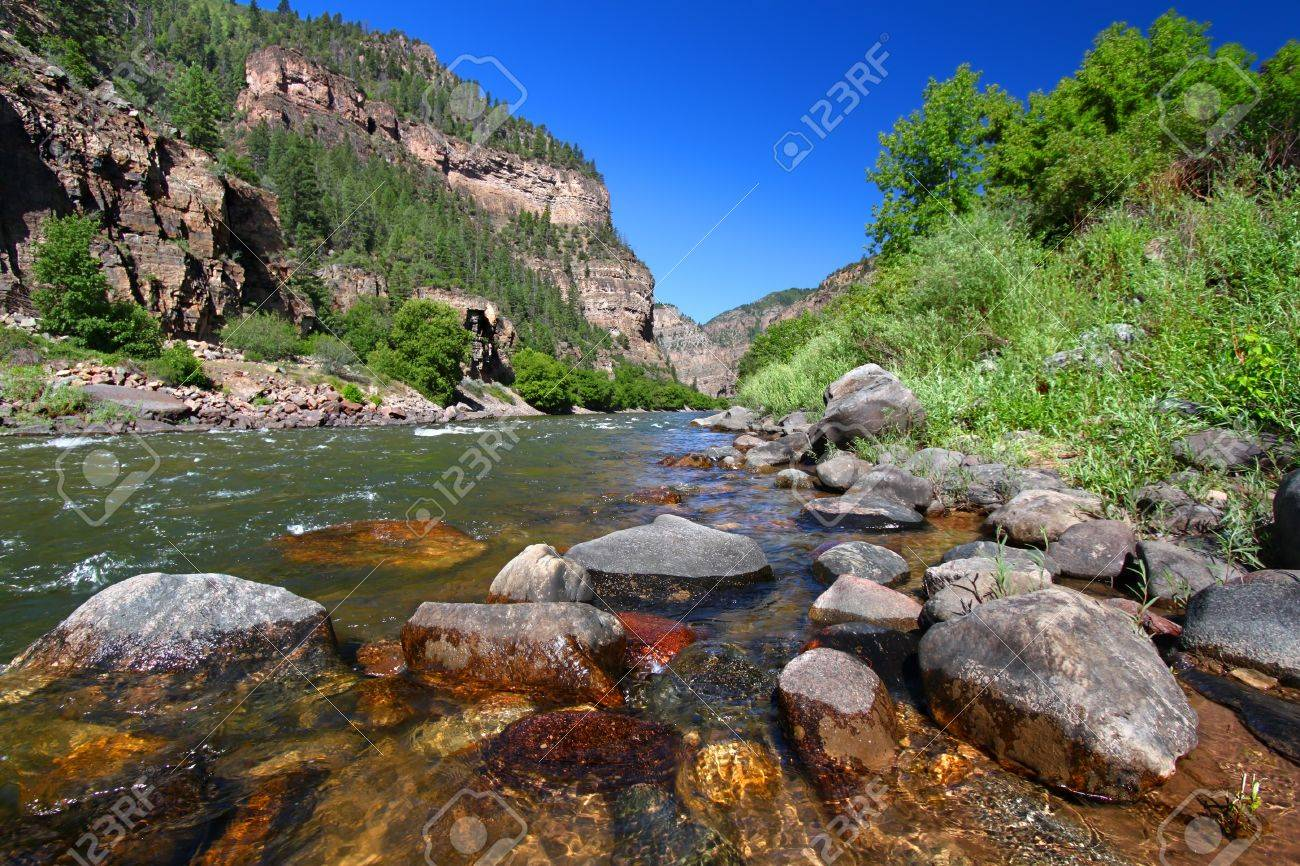 Colorado River flows through the White River National Forest in the western United States Stock Photo - 17631492