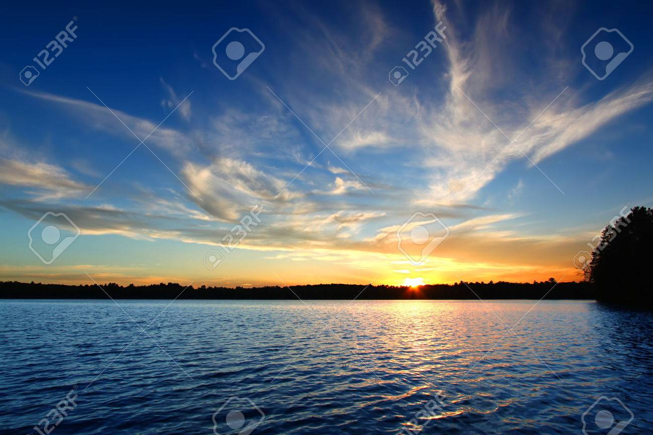 Northern Wisconsin Lake Sunset Stock Photo - 26766494