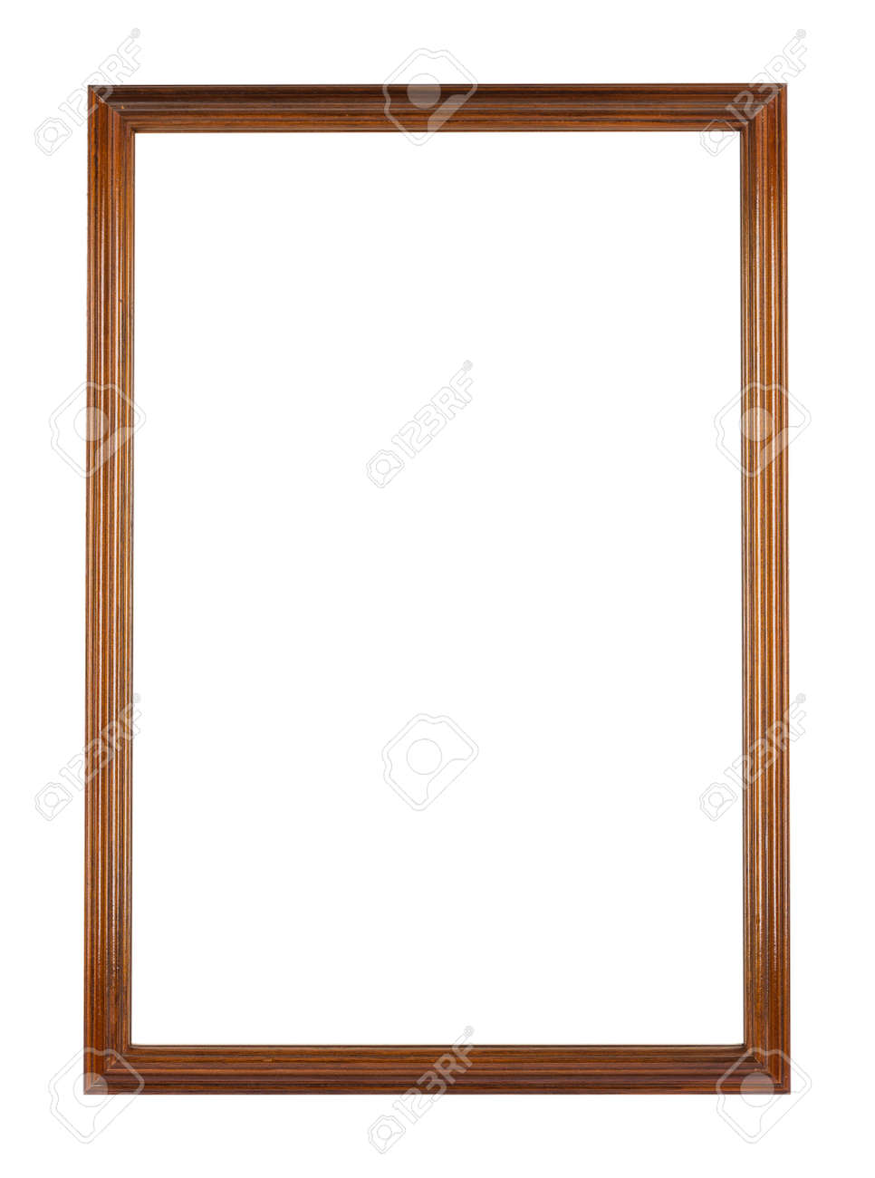 A rectangular wooden frame for painting or picture isolated on a white background - 152001259