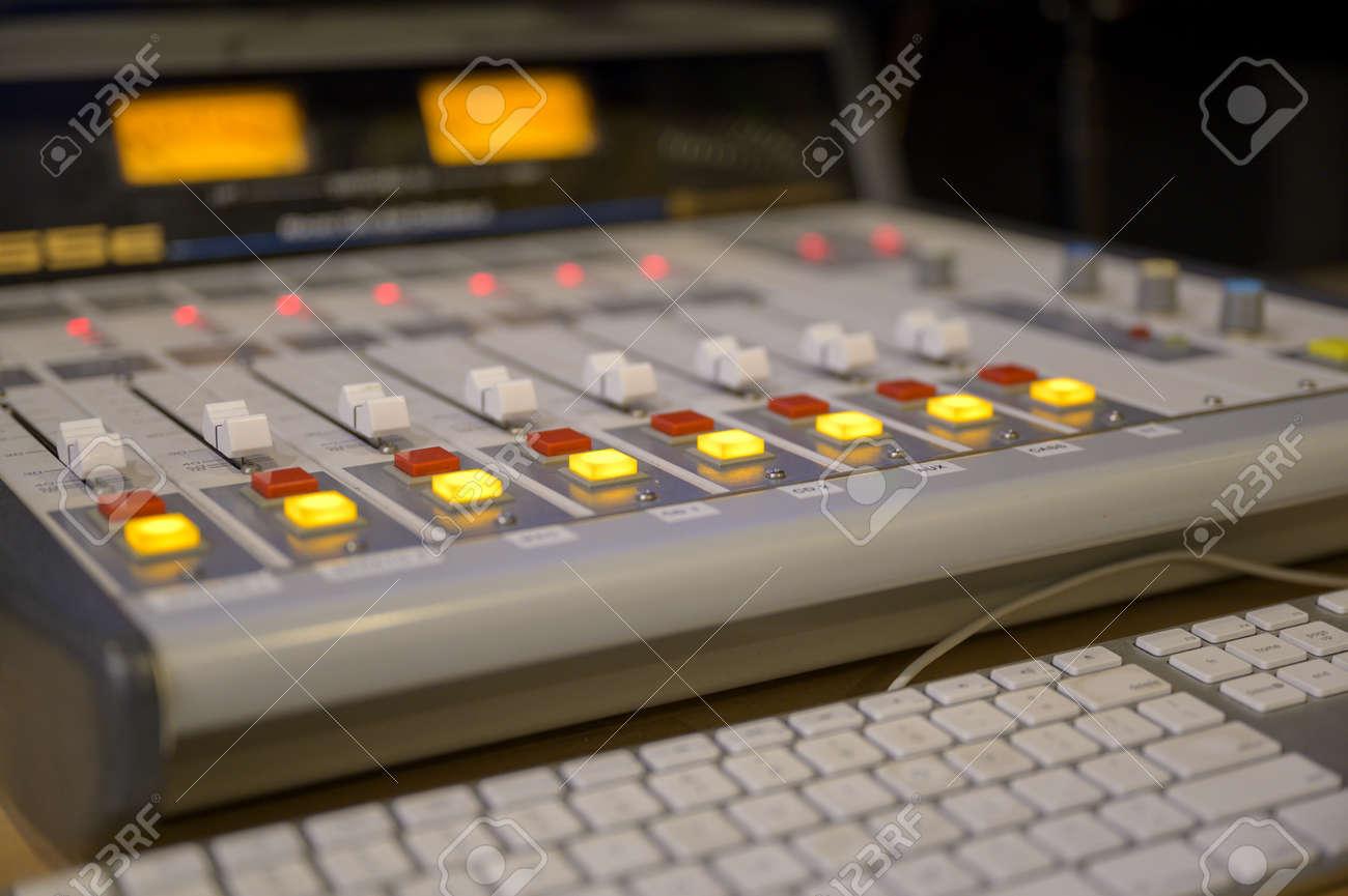 A closeup shot of professional radio station equipment or control panel - 155288162