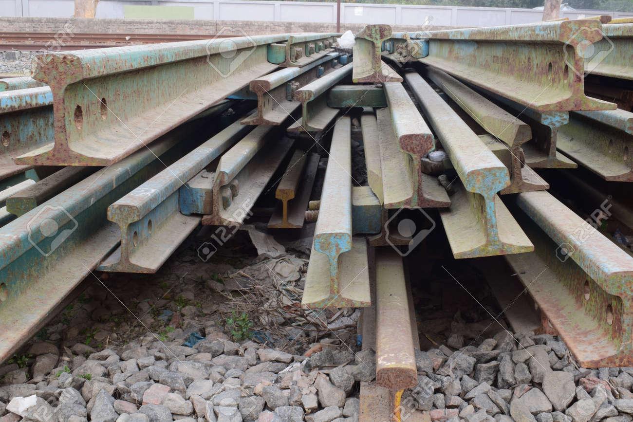 A closeup shot of old rusty railway scraps - 155183862