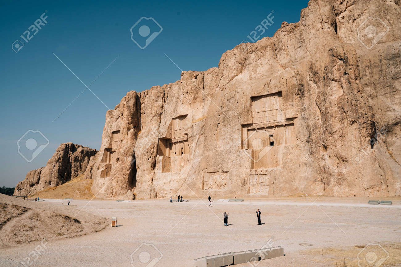CHIRAZ, IRAN - Oct 26, 2019: Naqsh-e Rustam contains four royal Achaemenid rock tombs. One of these, would be the tomb of Darius I. - 155081433