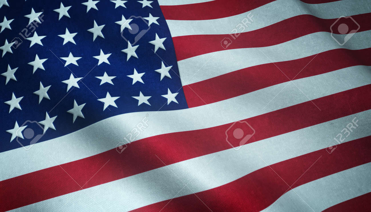 A closeup shot of the waving flag of the United States of America with interesting textures - 155941804
