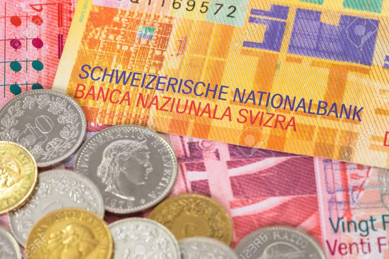 Schweiz Geld Schweizer Franken Note Und Münzen Nahaufnahme