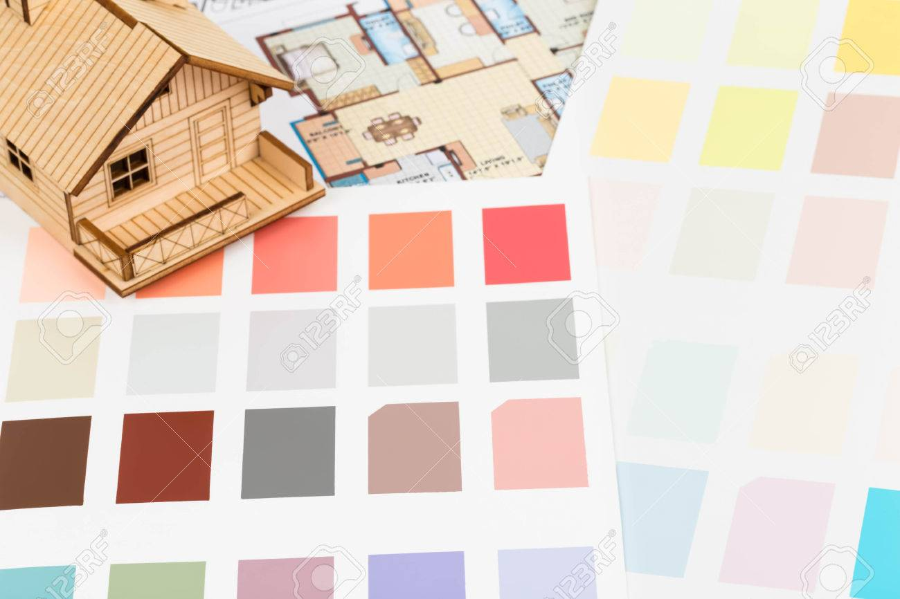 Paint Color Sample Catalog With Drawing And House Model