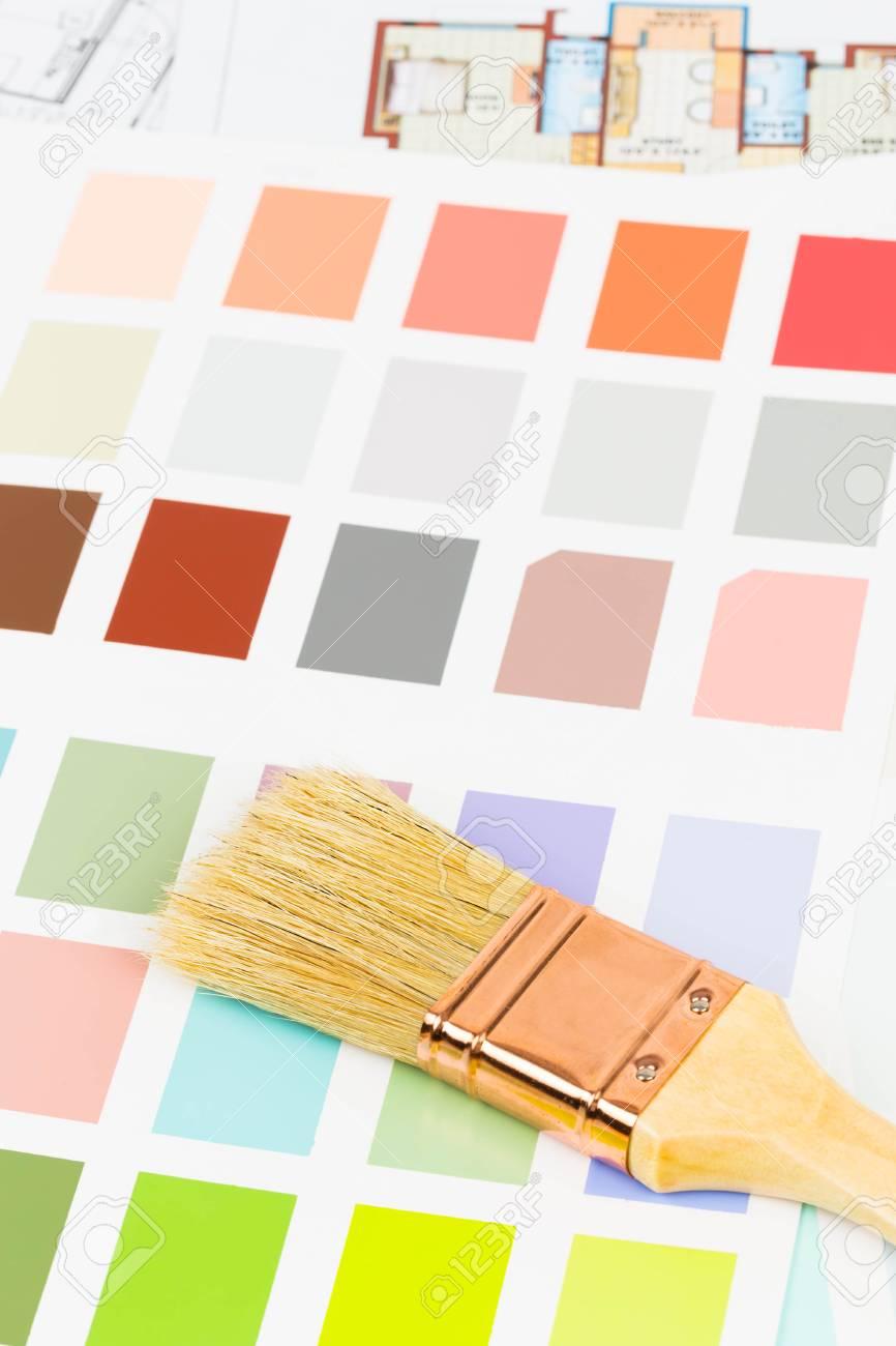 Banque Du0027images   Peinture Couleur Catalogue De Lu0027échantillon Avec Une  Brosse Et Dessin