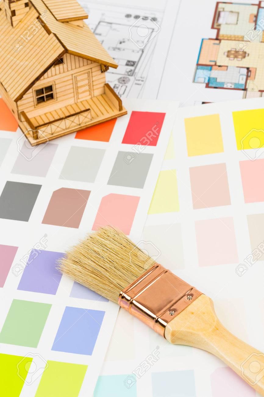 Banque Du0027images   Peinture Catalogue Du0027échantillons De Couleur Avec Un  Pinceau, Dessin Et Modèle De Maison