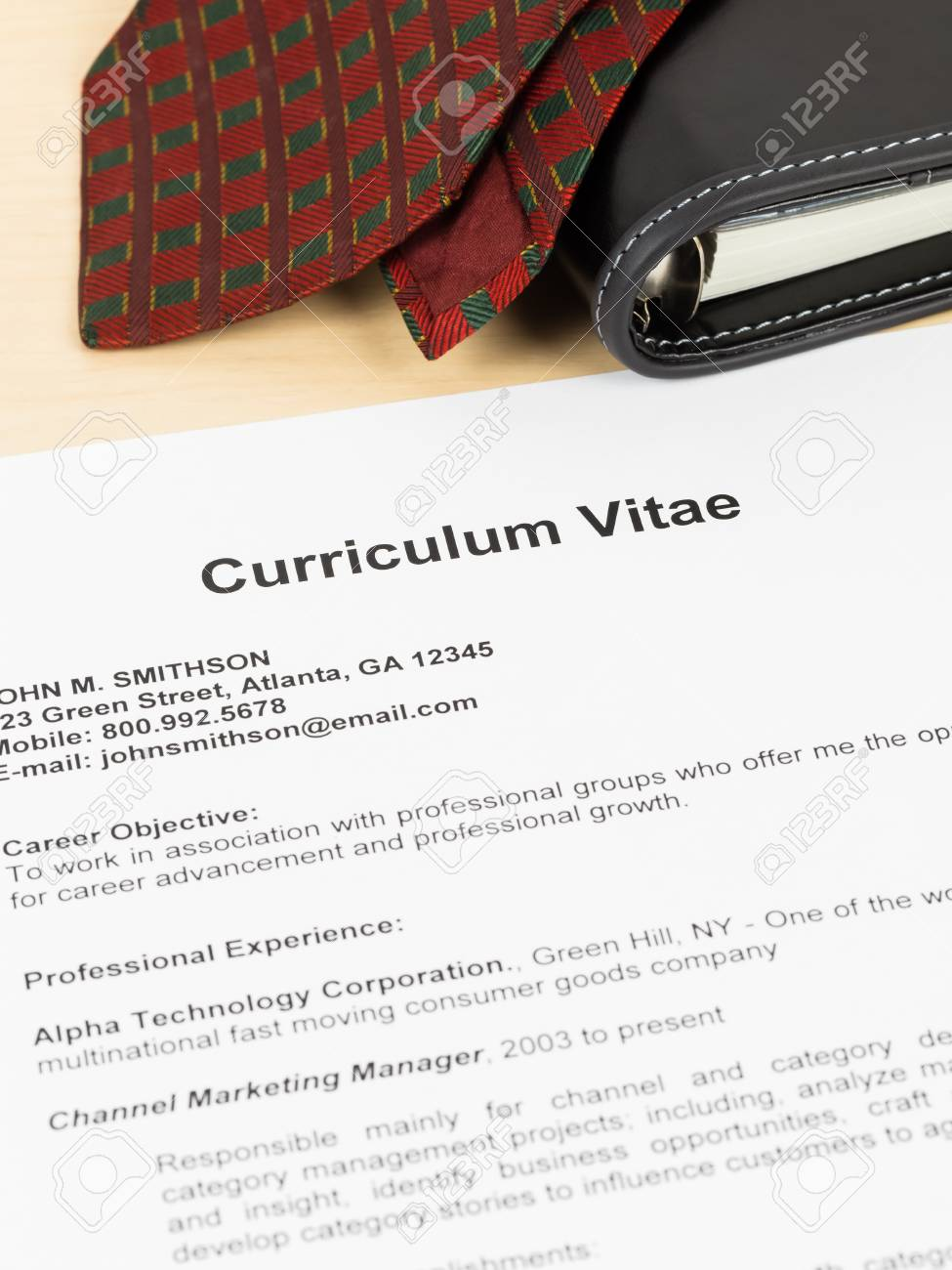 Curriculum Vitae Or CV With Organizer And Neck Tie; Concept Job ...