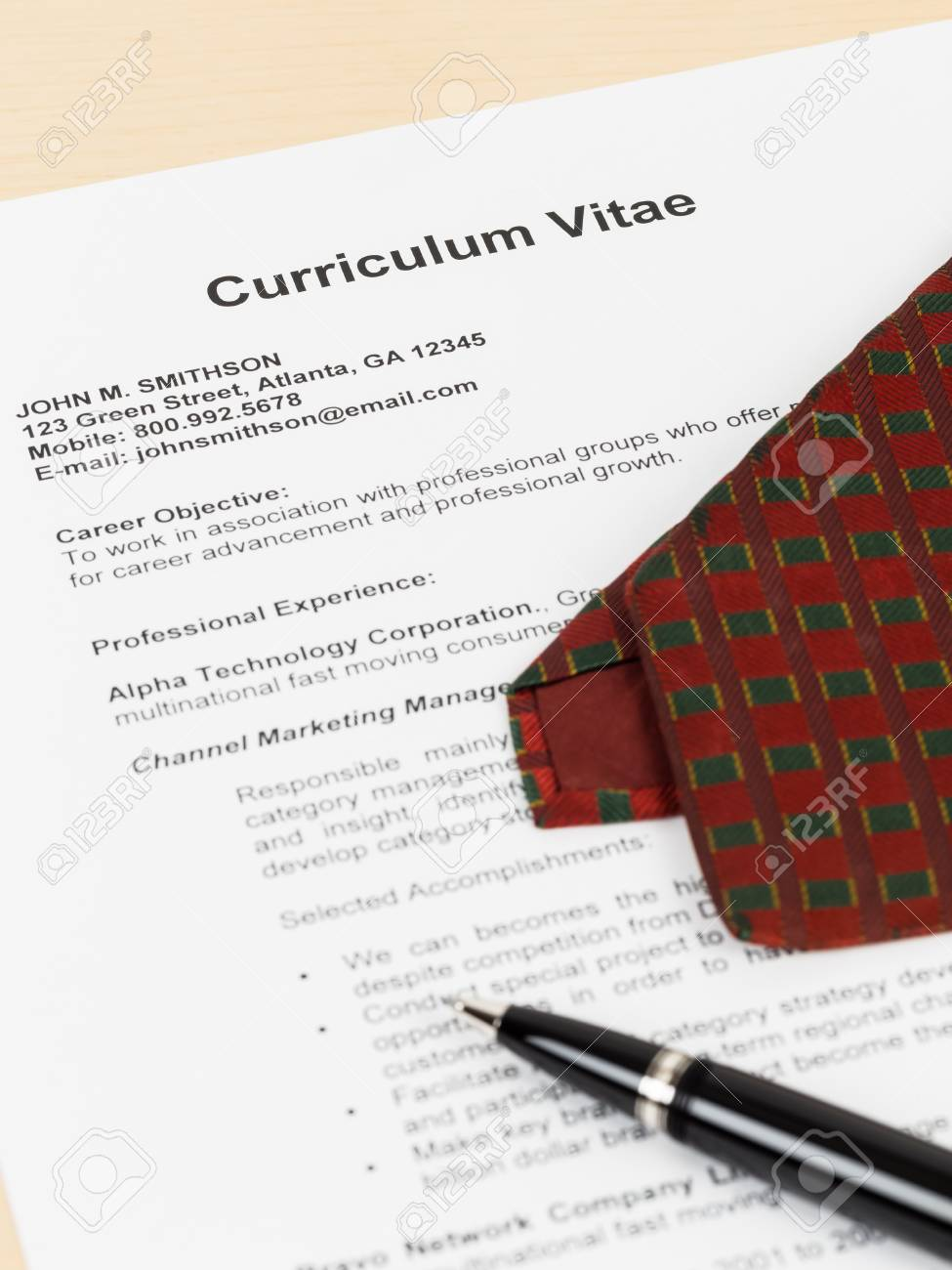 Curriculum Vitae Or CV With Pen, And Neck Tie; Concept Job Applying ...