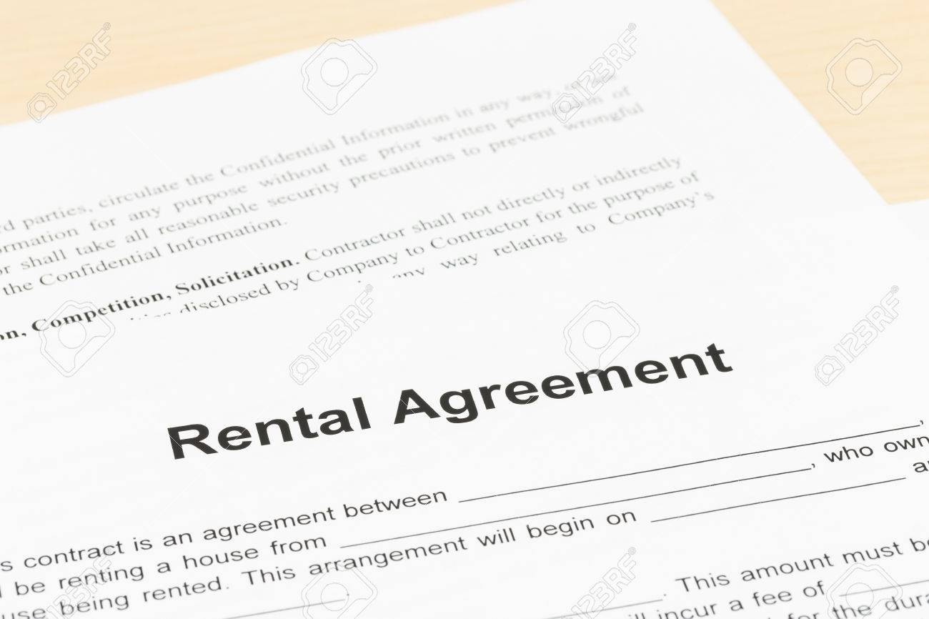Rental Agreement Document Is Mockup Stock Photo Picture And