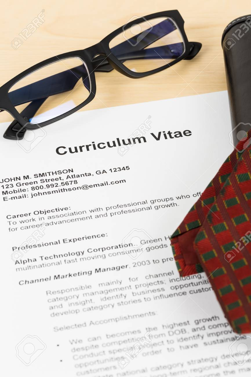 Curriculum Vitae Or CV With Glasses Organizer And Neck Tie Concept ...
