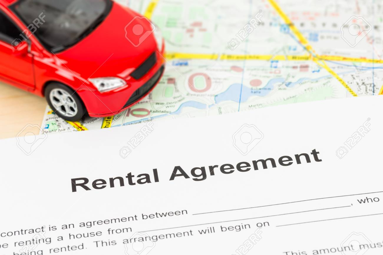 Car rental agreement on map doent is mockup on