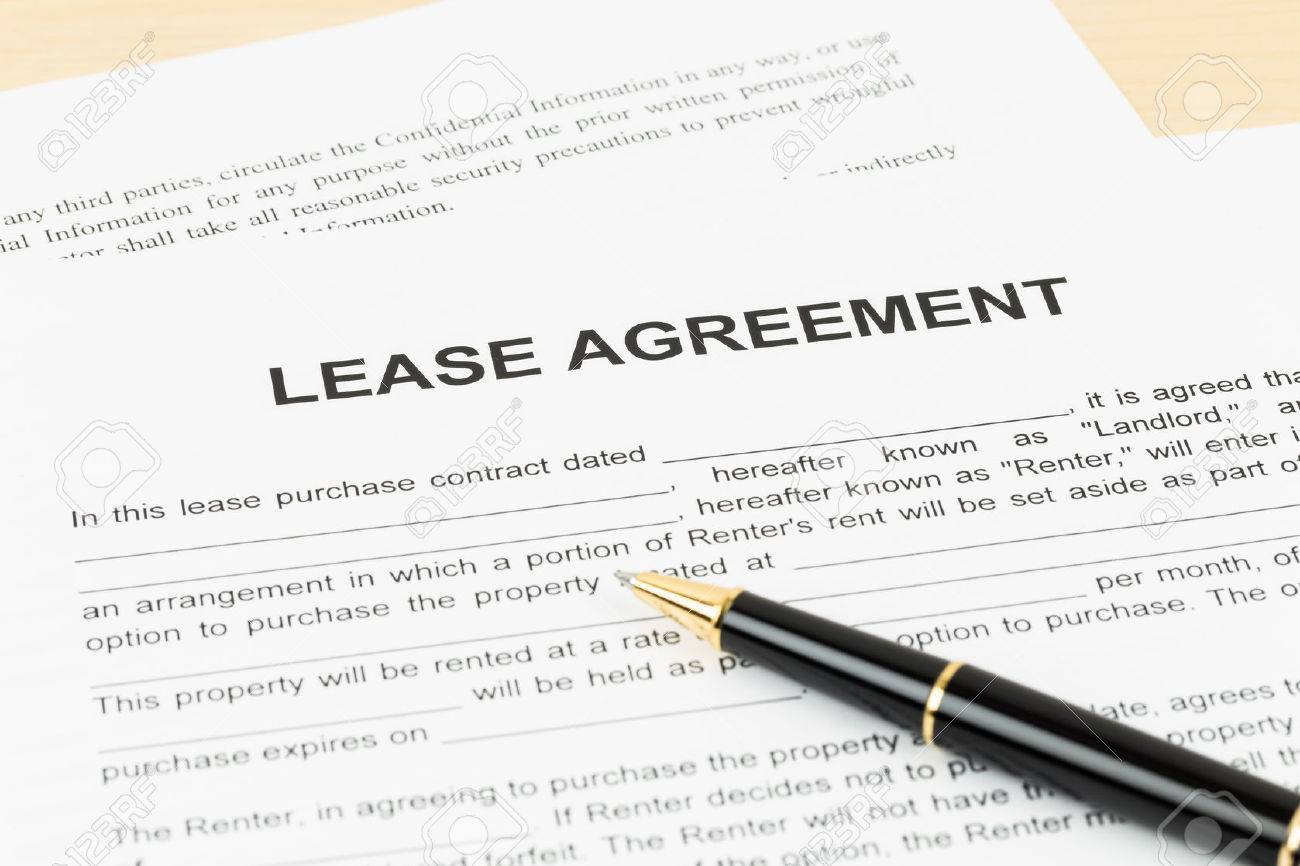 Lease Agreement With Pen Document Is Mockup Stock Photo Picture And