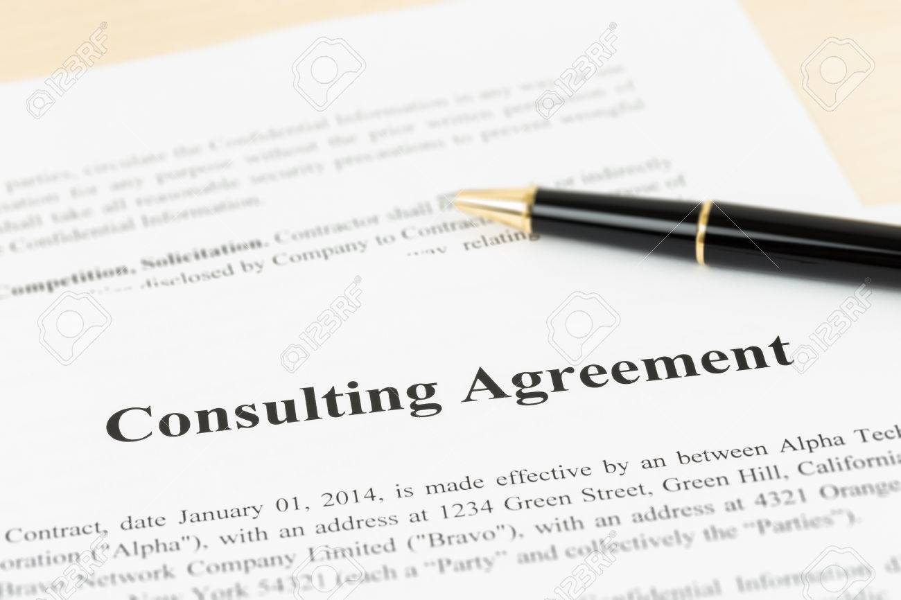 Consulting Agreement Documents And Information Are Mockup Stock