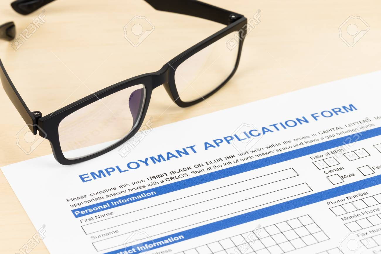 Employment Application Form With Glasses Concept Job Applying Stock ...