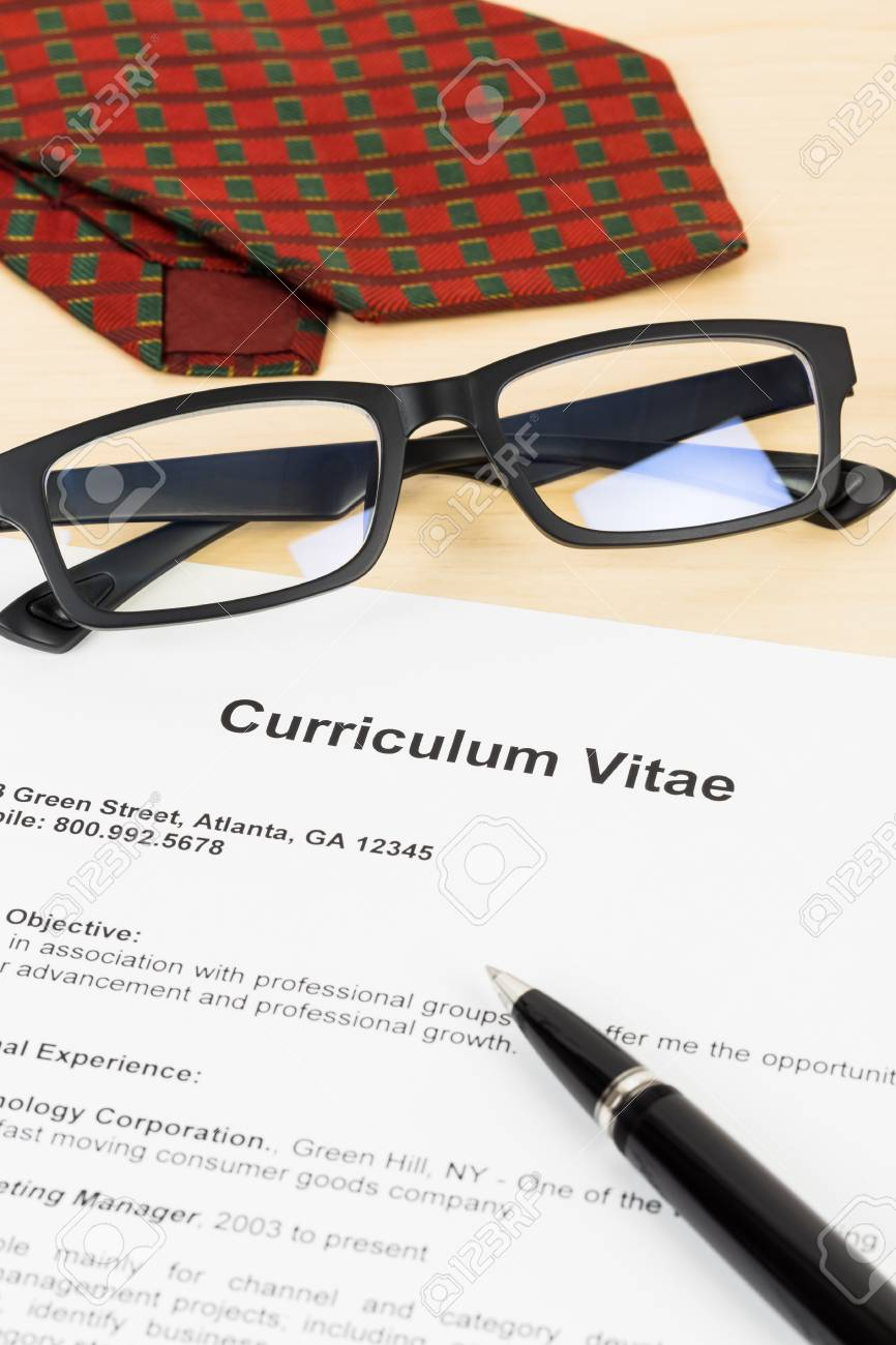 Curriculum Vitae Or CV With Pen, Glasses, And Neck Tie; Concept ...