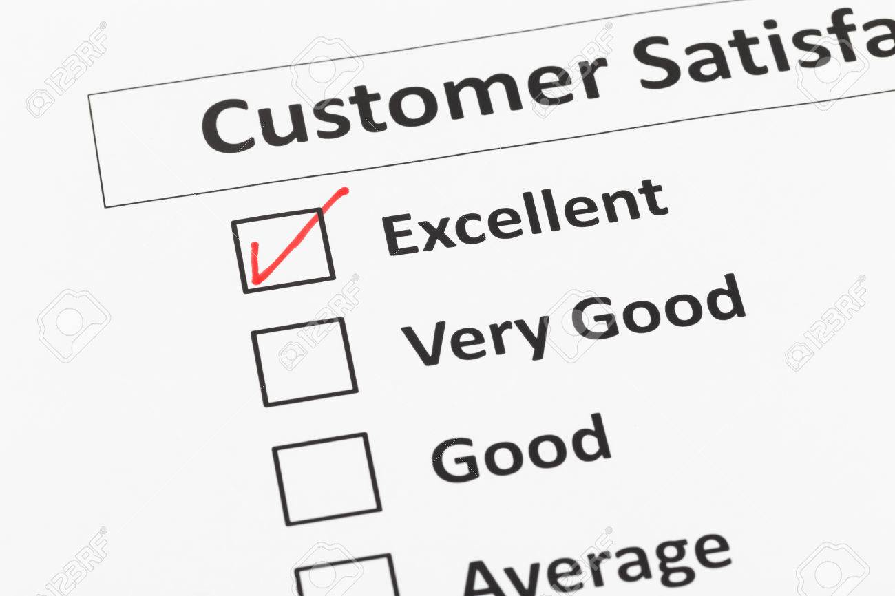 Customer Satisfaction Survey Checkbox With Excellent Tick Stock Photo    43121992