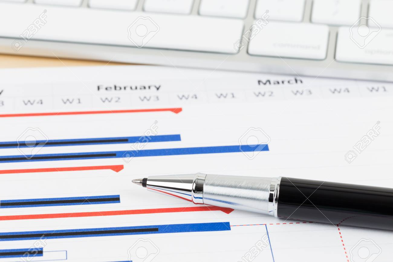 project management and gantt chart with keyboard and pen stock photo