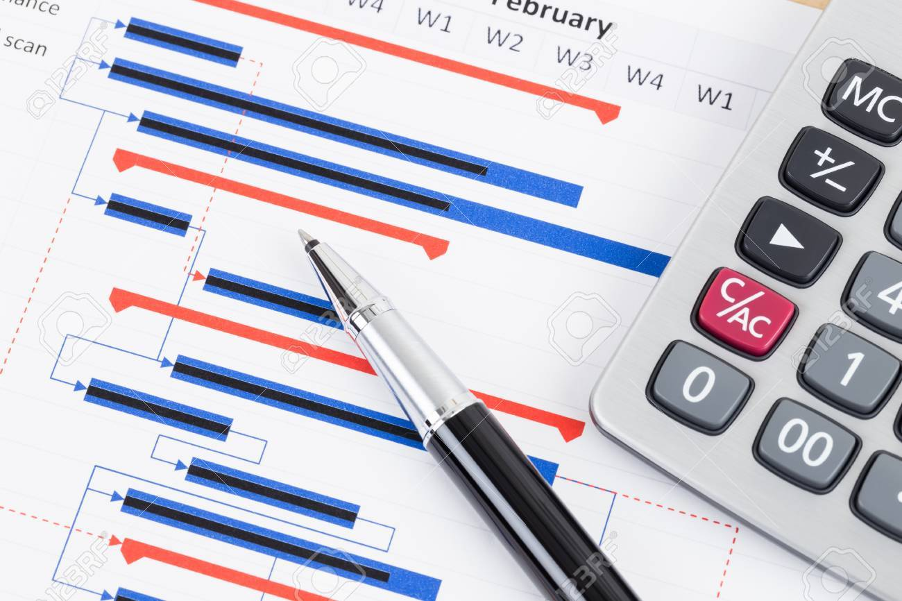Project management and gantt chart with pen and calculator stock project management and gantt chart with pen and calculator stock photo 85437855 nvjuhfo Choice Image
