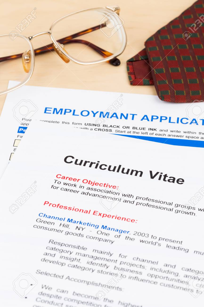 Curriculum Vitae And Employment Application Form With Glasses