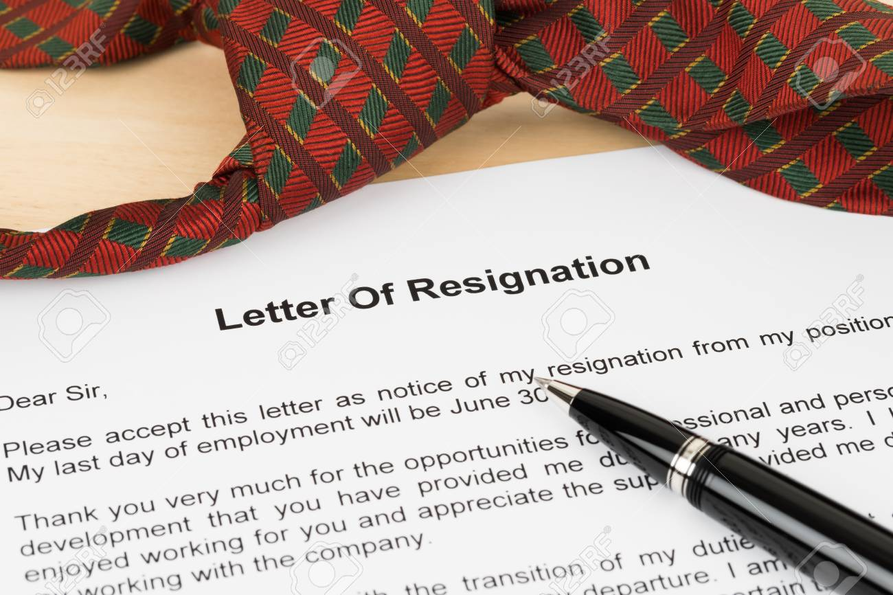 Resignation letter resign with pen and necktie stock photo picture resignation letter resign with pen and necktie stock photo 99827767 expocarfo Gallery