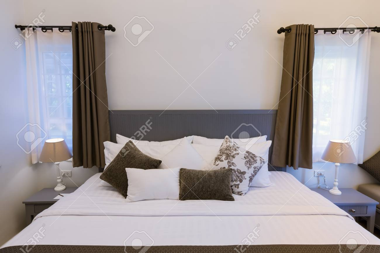 Modern Styles Bedroom In Resort With King Size Single Bed Stock