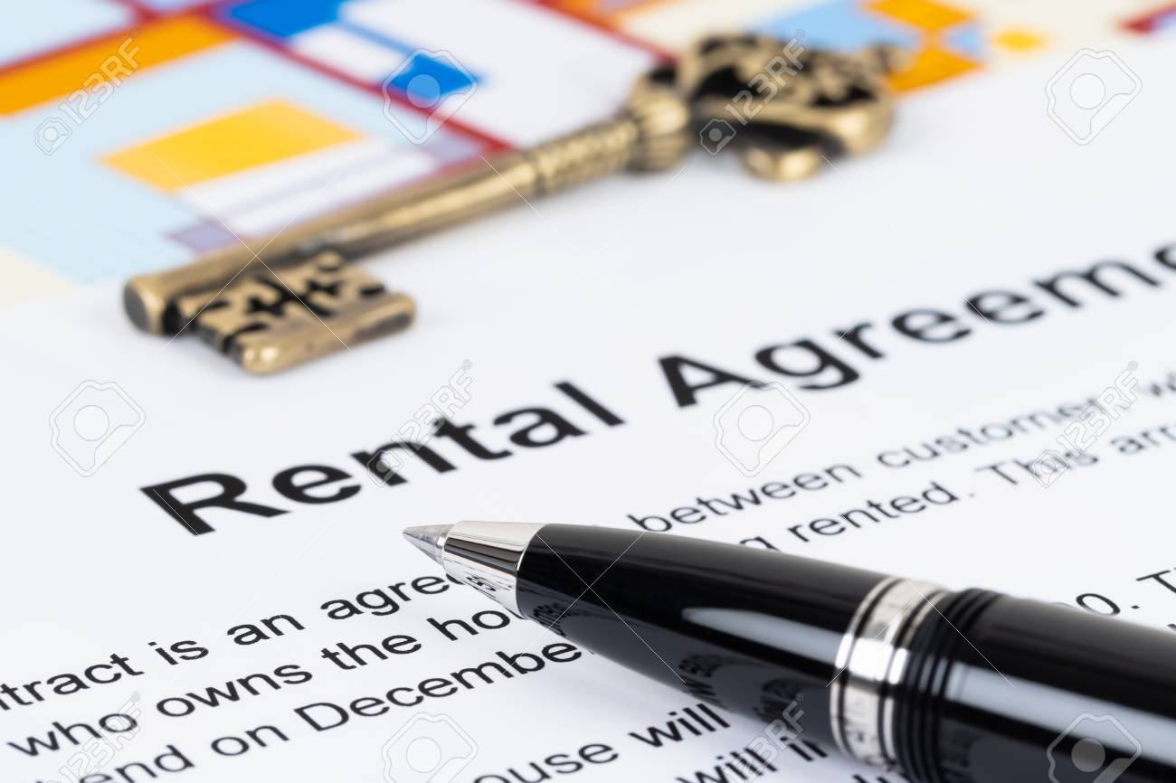 Rental Agreement Paperwork Document Is Mock Up Stock Photo Picture