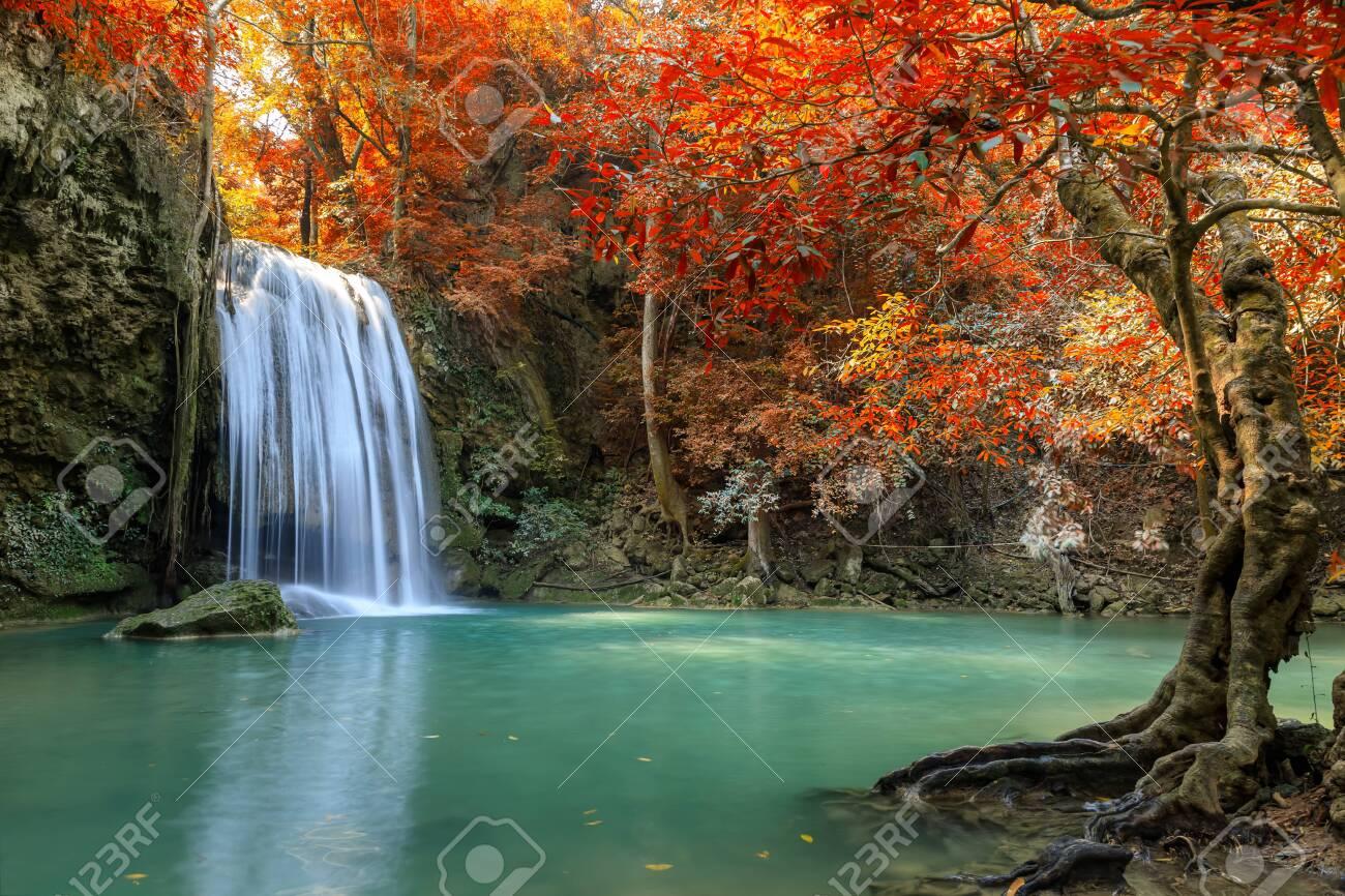 Erawan Waterfall tier 3, in National Park at Kanchanaburi, Thailand - 123188871