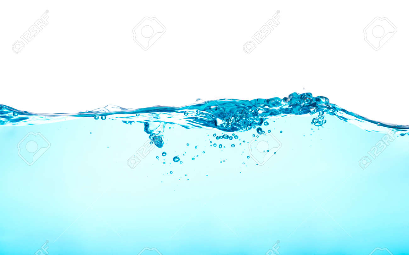 Water with water waves and bubbles separately on a white background - 152915017