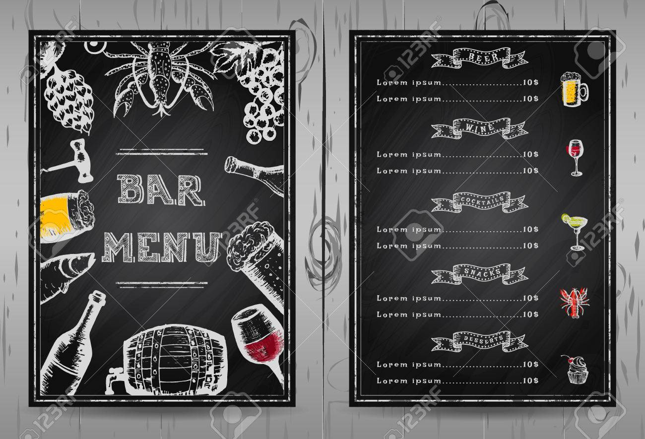 Design Bar Menu Template Restaurant Menu Chalkboard Menu Royalty