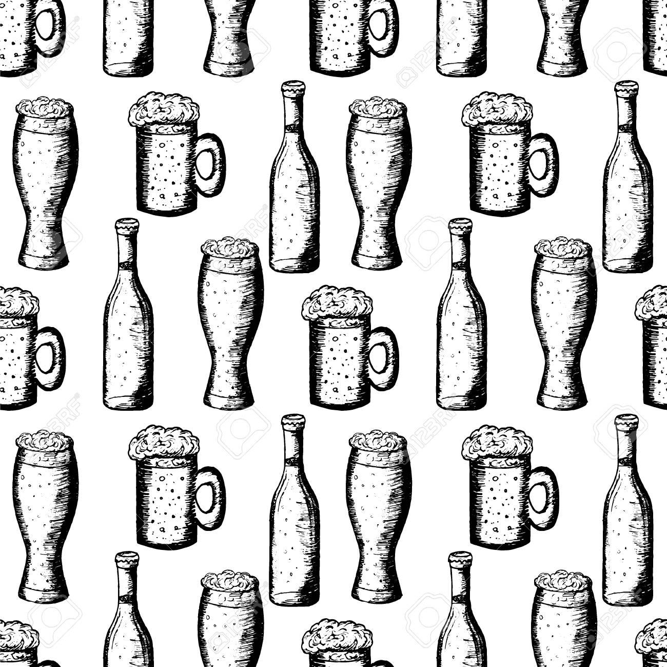 手描きのベクトル図 ビールと白い背景 ビンテージ パターン