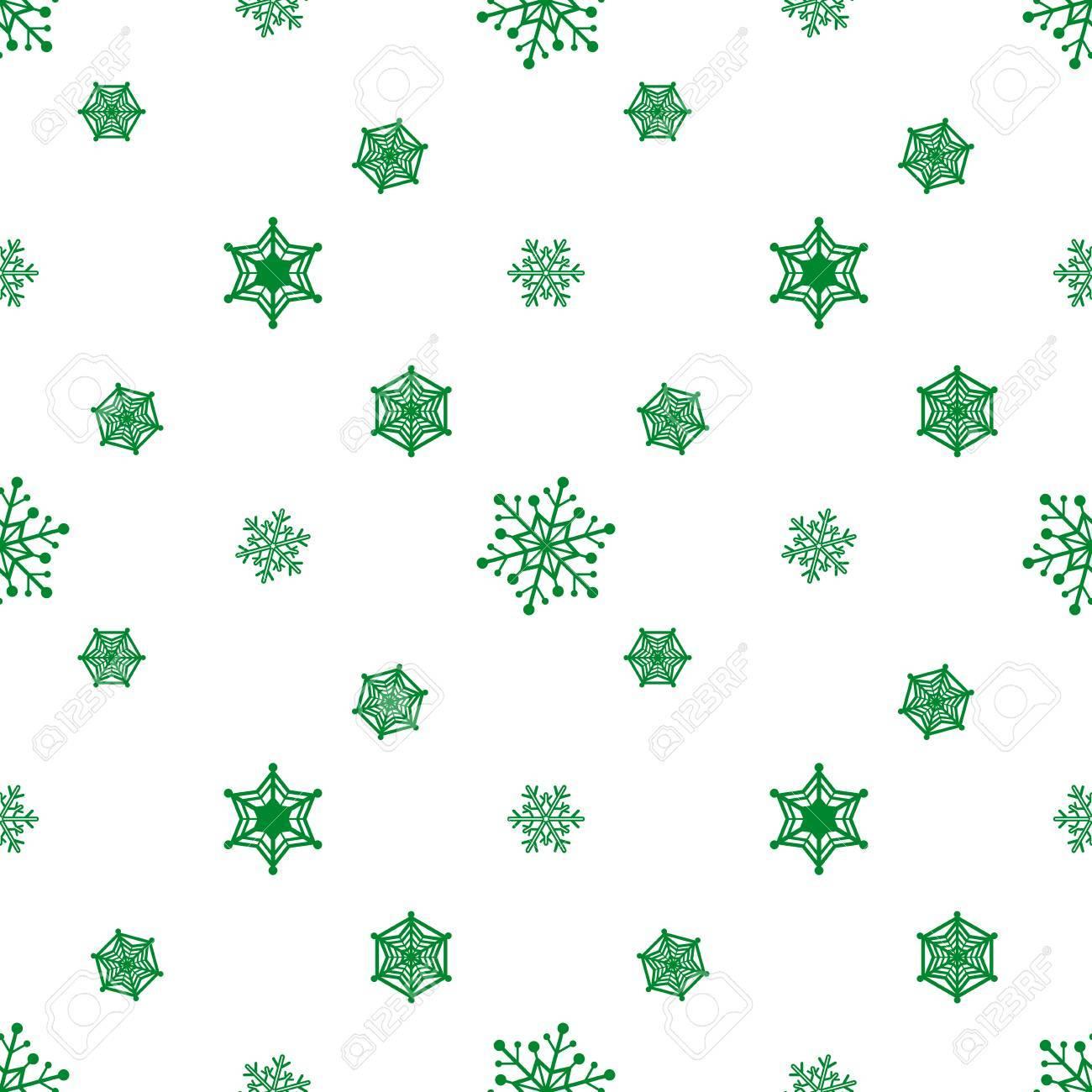 Snowflake Green Colour White Background Christmas Pattern Wallpaper Stock Vector