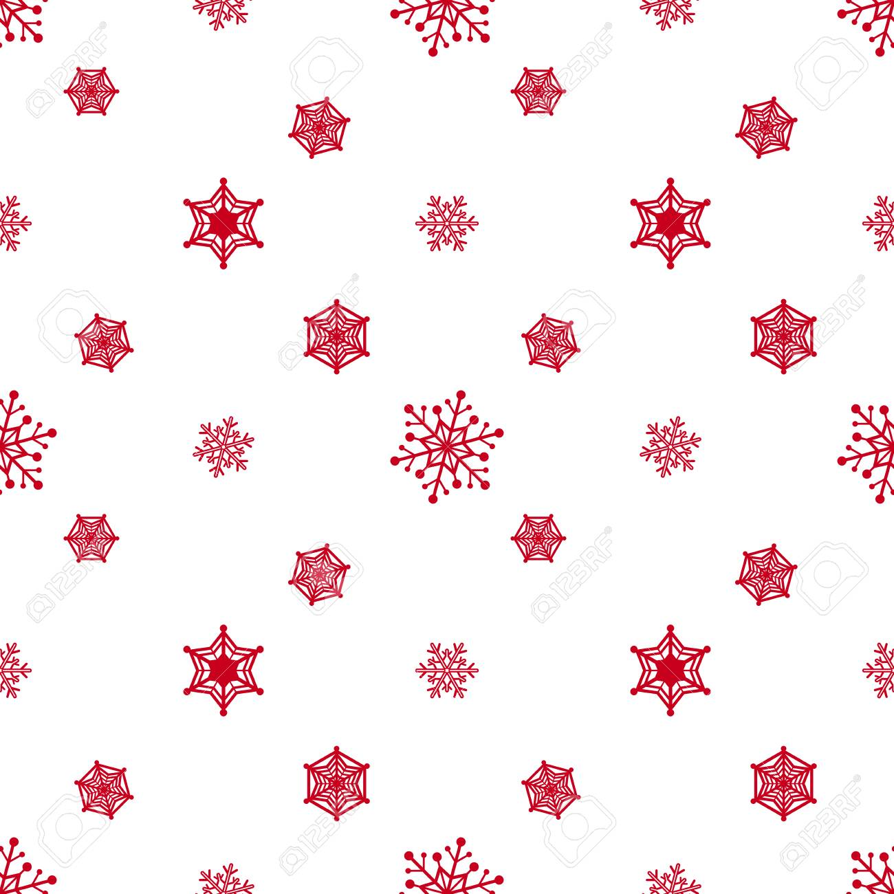 Snowflake Red Colour White Background Christmas Pattern Wallpaper